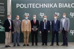 Porozumienie o współpracy między Politechniką Białostocką a firmą SaMasz; konferencja z dnia 21.07.2021; fot. G. Kościuk
